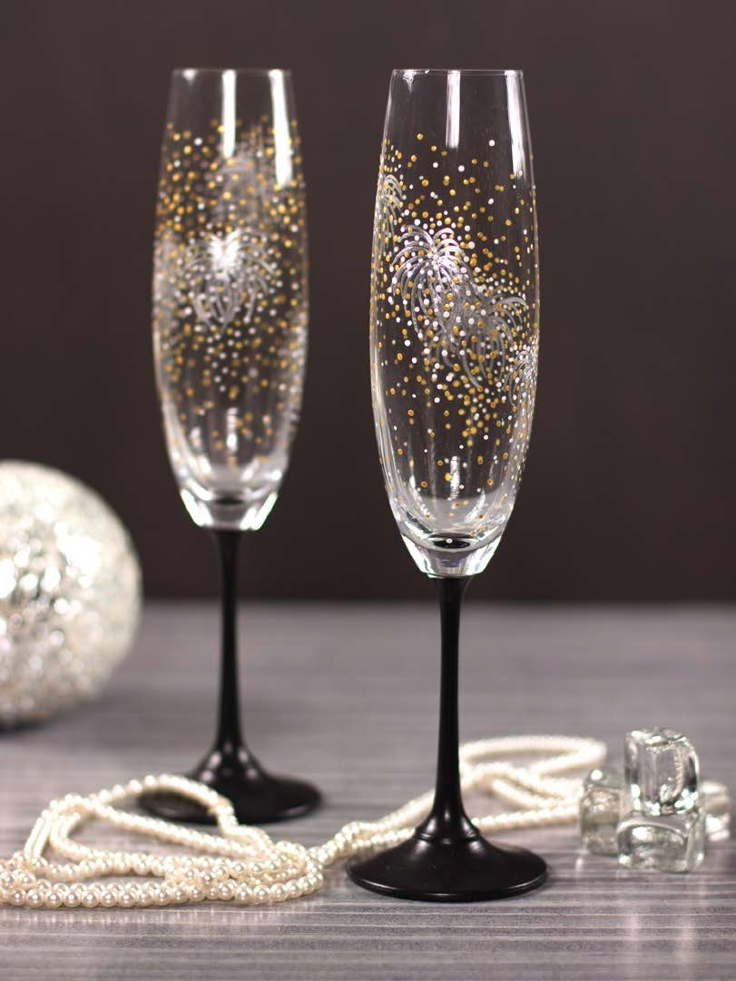 New Years Firework Champagne Flutes  FaveCraftscom