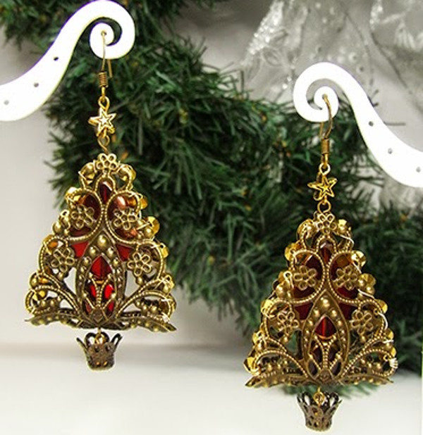 Gold Filigree DIY Christmas Tree Earrings