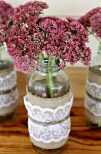 Burlap and Lace Mason Jars | AllFreeHolidayCrafts.com
