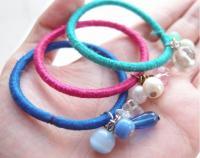 Embellished Hair Tie DIY Bracelets | AllFreeJewelryMaking.com