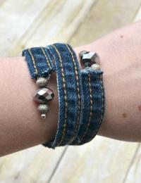 Denim DIY Wrap Bracelet   AllFreeJewelryMaking.com