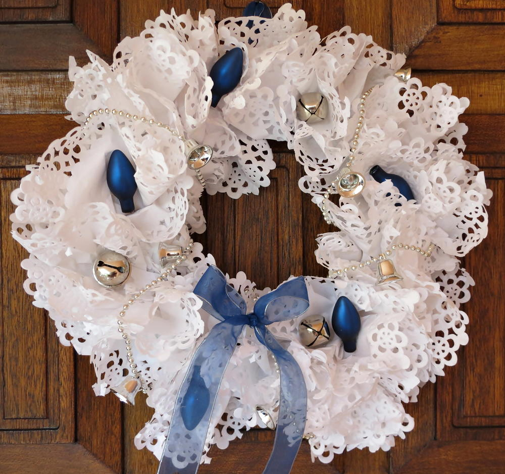 Blue and White Paper Doily Wreath  FaveCraftscom