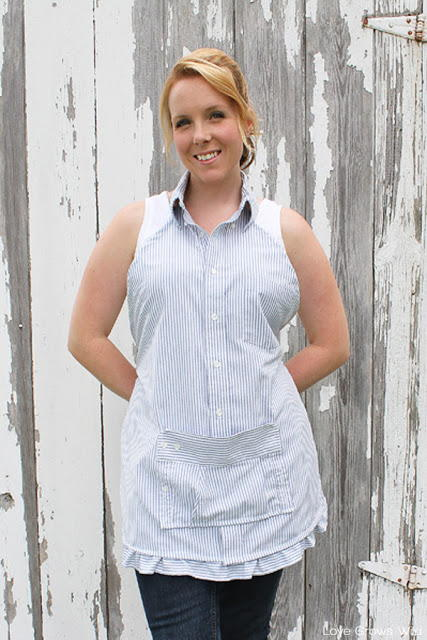 Upcycled ButtonDown Apron  AllFreeSewingcom