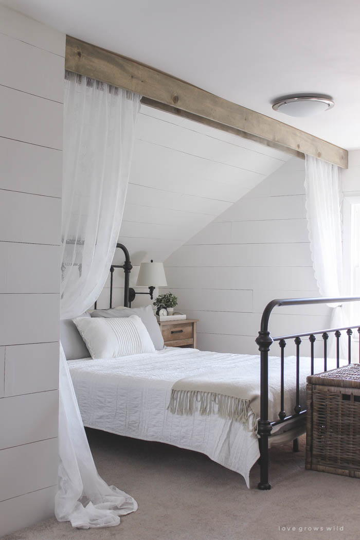 Wood Beam and Lace Canopy Curtains  DIYIdeaCentercom