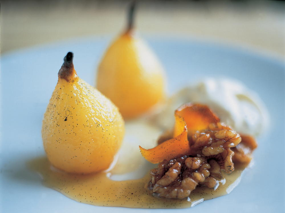 baked pears with wine and a scrumptious walnut cream cookstr com