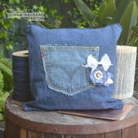 Denim Pocket Pillow | FaveCrafts.com