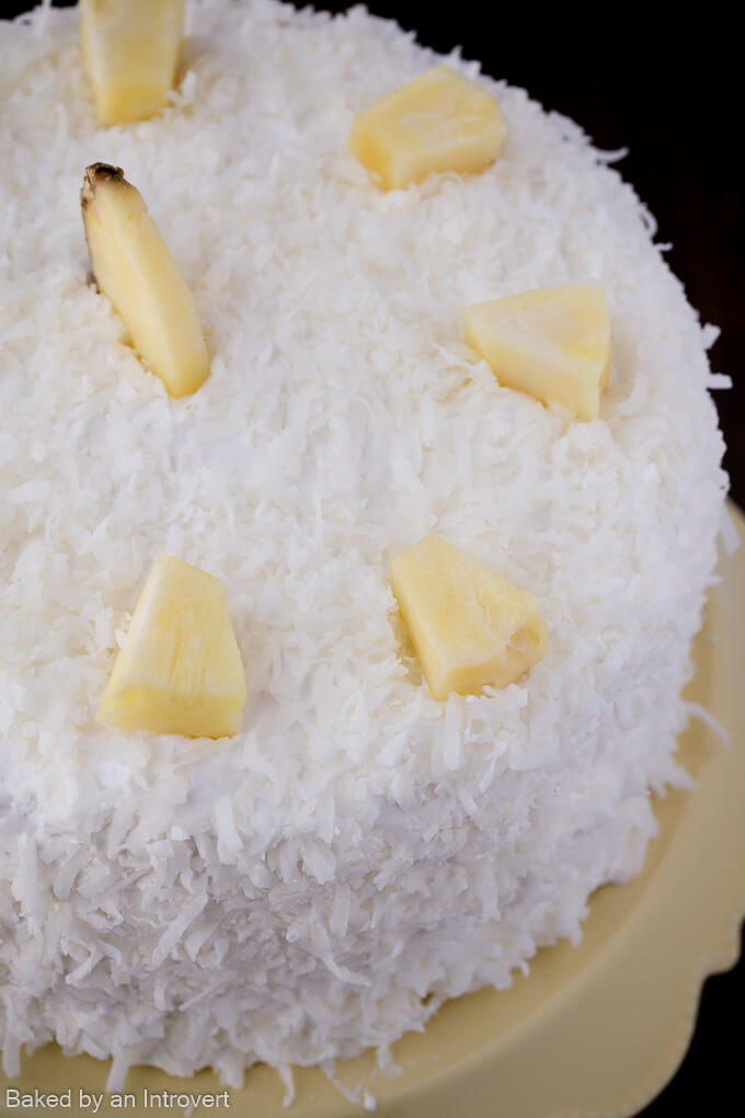 Pineapple Frosting Coconut Cake