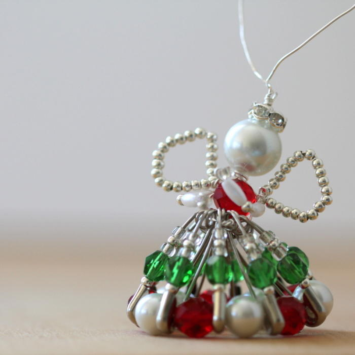 Silver and Pearl Safety Pin Angel Ornament  AllFreeChristmasCraftscom