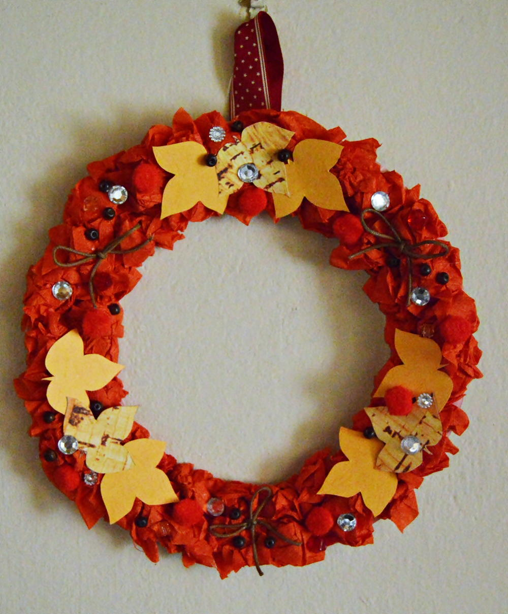 Autumn Leaves Paper Wreath AllFreePaperCrafts Com