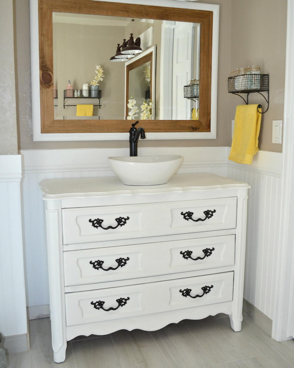 Country Chic Upcycled Bathroom Vanity  DIYIdeaCentercom