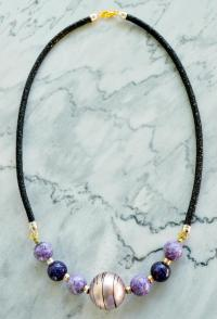 Classy Leather Beaded Necklace | AllFreeJewelryMaking.com