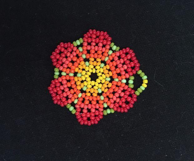 Beaded Peyote Stitch Flower Pendant