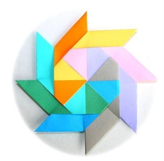 Colorful Ninja Star Origami AllFreePaperCrafts Com