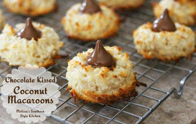 Chocolate Kissed Coconut Macaroons | FaveSouthernRecipes.com