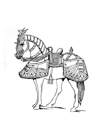 Armored Horses Coloring Page