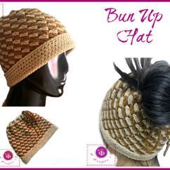 Kitchen Mittens Kohler Touchless Faucet Bun Up Crochet Ponytail Hat | Allfreecrochet.com