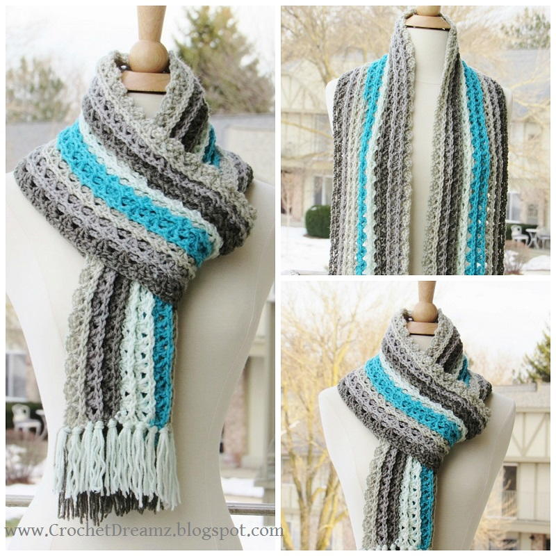 kitchen mittens trays ocean waves scarf | allfreecrochet.com