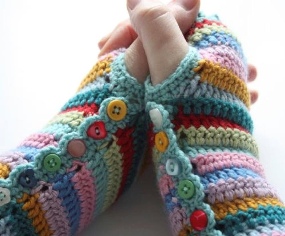 Super Striped Fingerless Gloves  AllFreeCrochetcom