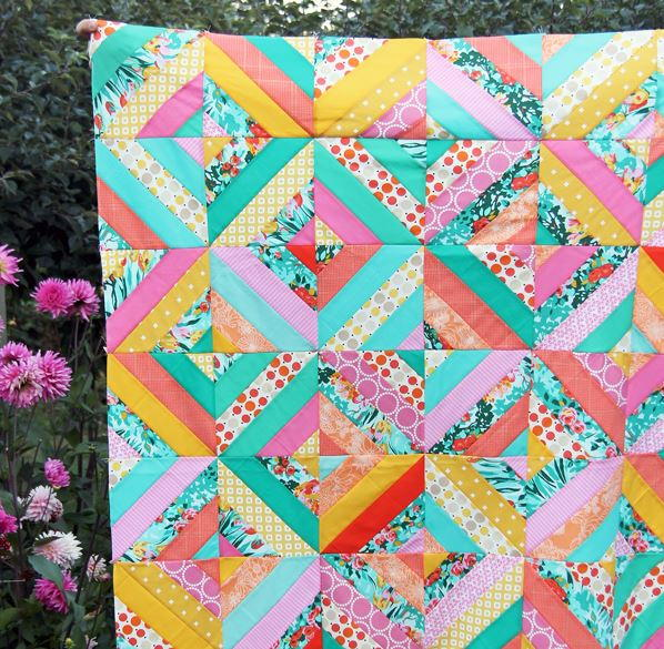 kitchen table decorations narrow cabinet diagonal strip quilt tutorial | favequilts.com