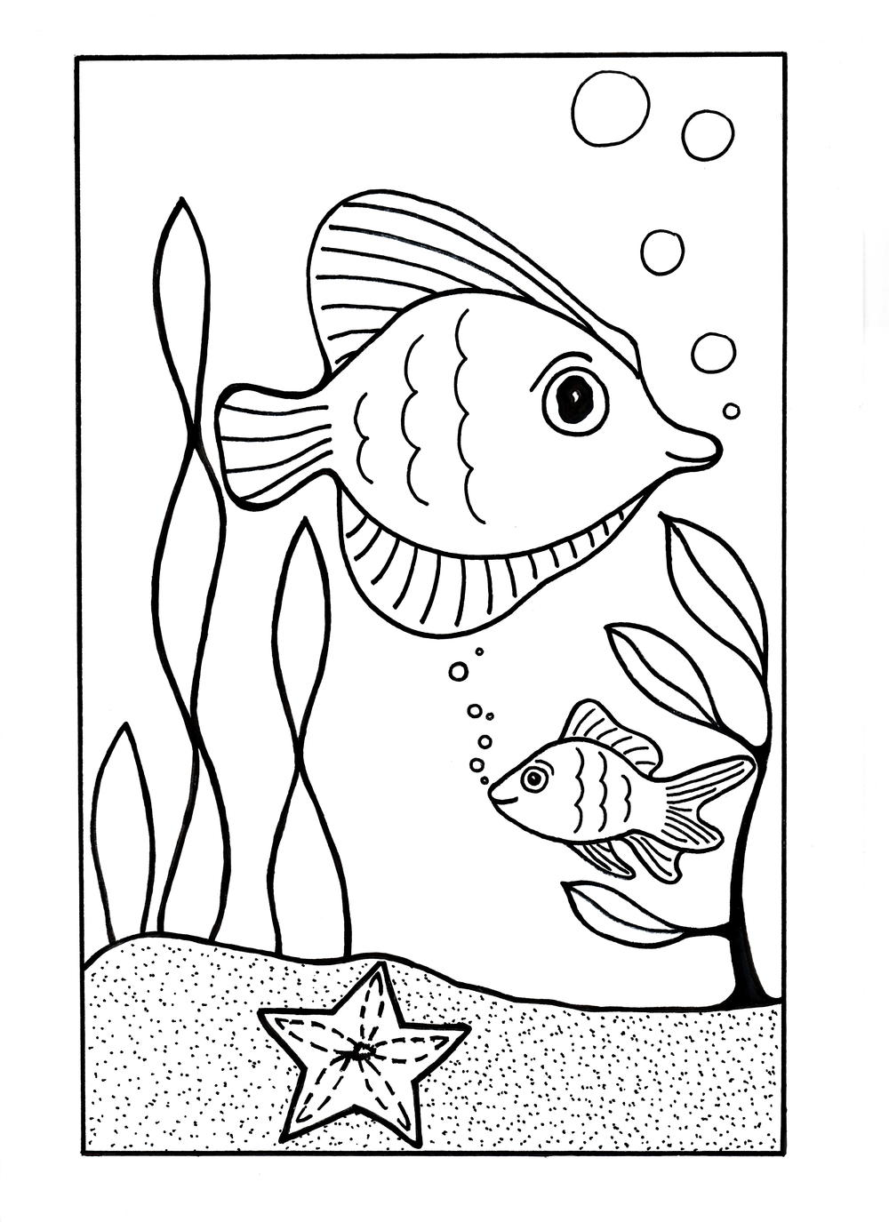 Under the Sea Coloring Page | AllFreeKidsCrafts.com | coloring pages for sea animals