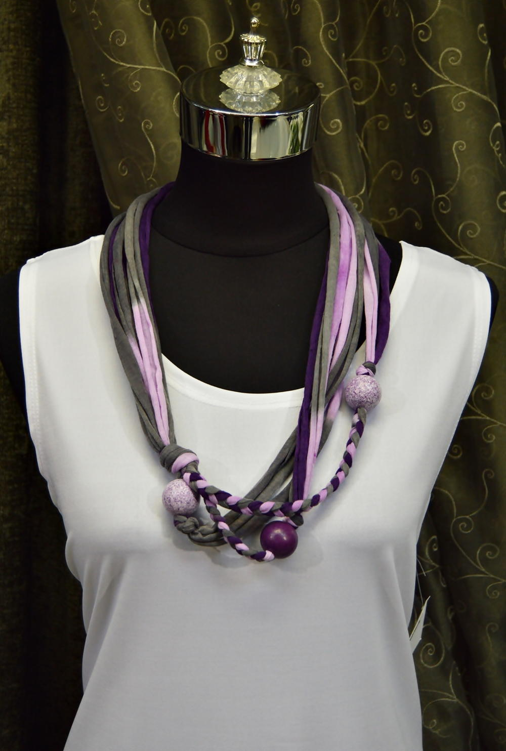 Royal Purple T Shirt Yarn Necklace