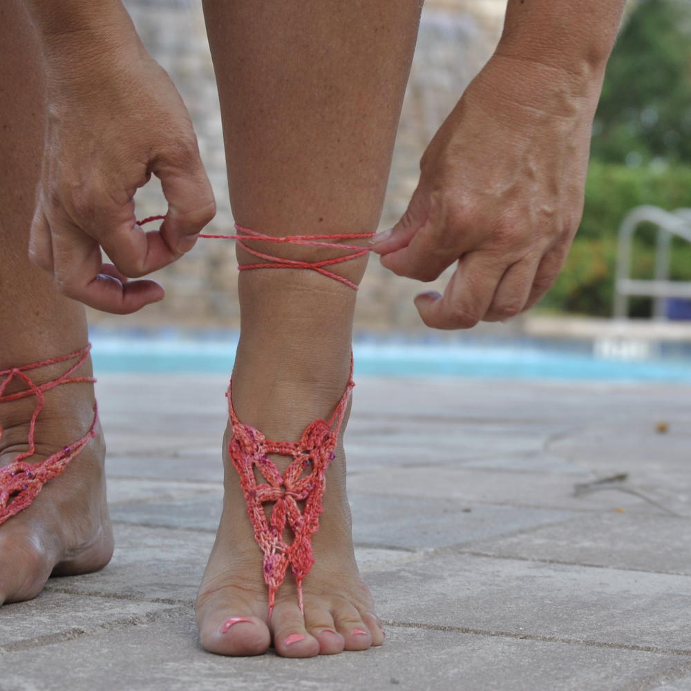 Fine Coral Beaded Barefoot Sandals