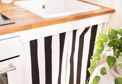 easy sew diy sink curtains