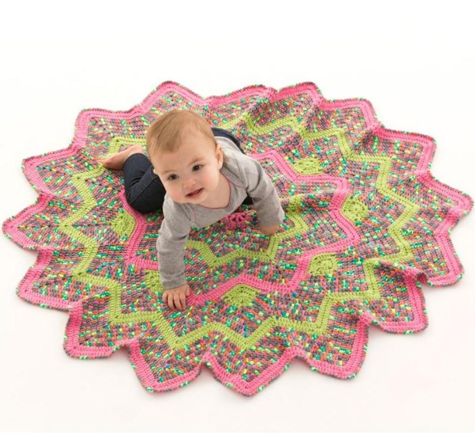 Classic Round Ripple Crochet Baby Blanket Sunburst Pa – Cute12