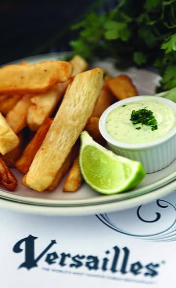 fried yuca with cilantro