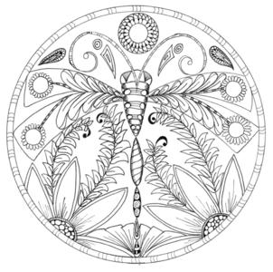 Dragonfly Floral Mandala Coloring Page Favecrafts Com
