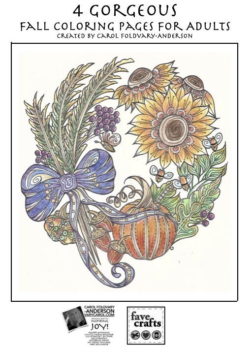 4 Gorgeous Fall Coloring Pages For Adults Pdf Favecrafts Com