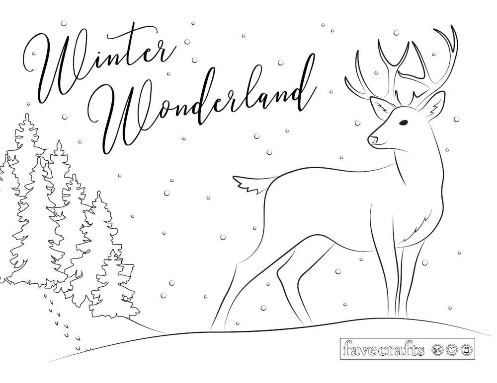Winter Wonderland Deer Coloring Page Favecrafts Com