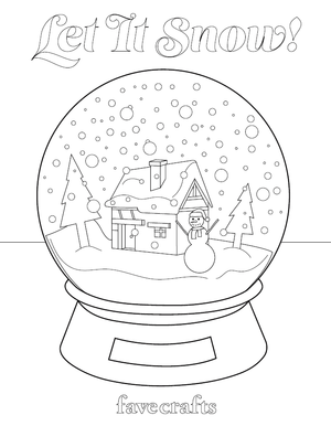 Let It Snow Snow Globe Coloring Page Favecrafts Com