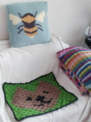 free cat cushion cover to knit # 85