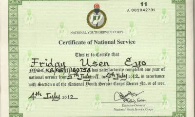 Mr. Usen Eyo Friday's NYSC Cert.