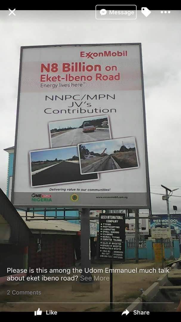 Signpost erected by ExxonMobil to have allegedly spent 8billion on Eket-Ibeno Road