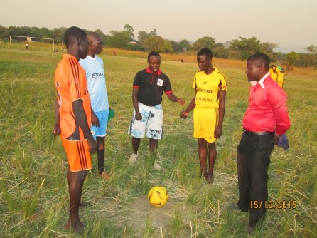 Robert Kalenzi one of the facilitators officiated football competition betwen MAAYOC 2015 Moyo and Adjumani football teams