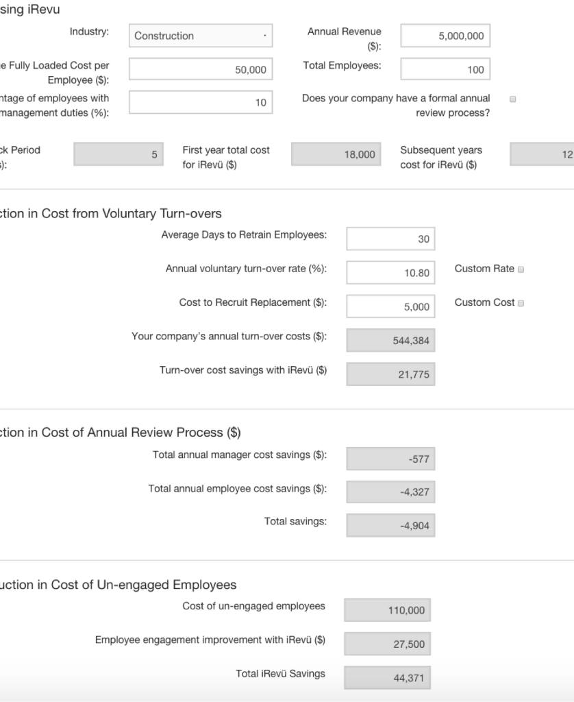 ROI Calculator Screenshot