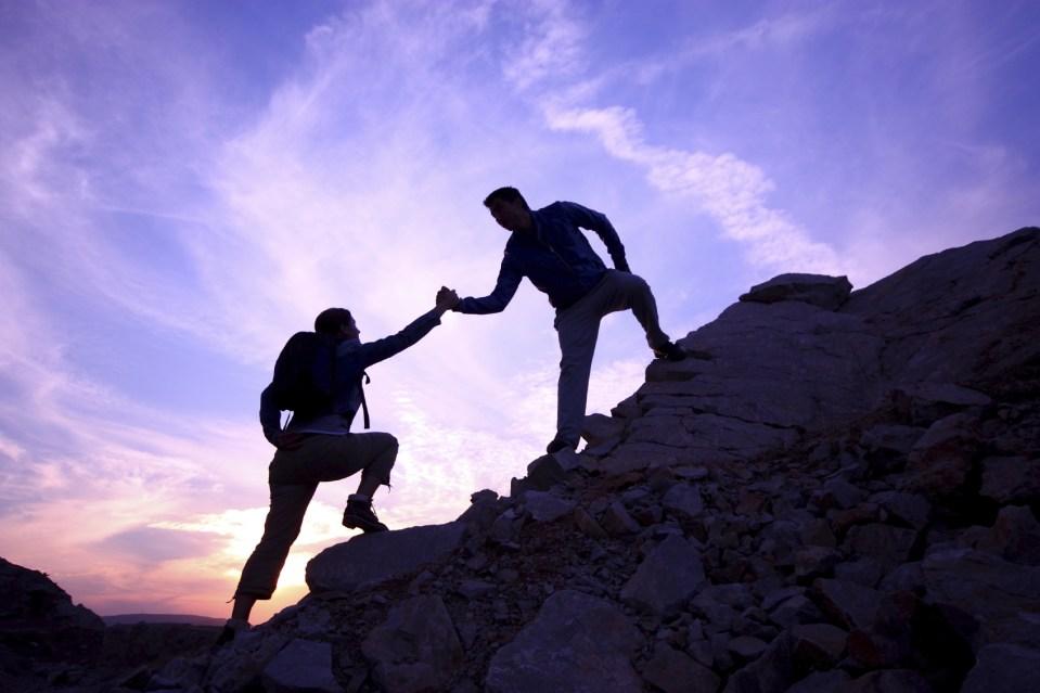 climbers on a mountain