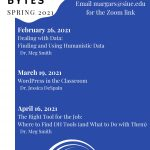 Morning Bytes spring 2021 schedule - the session titles and dates are also in the main body of the post