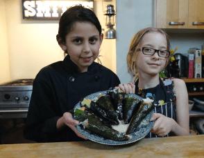 Sushi hand roll with tempura prawn