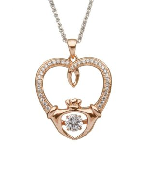 Rose Gold Claddagh Heart Necklace