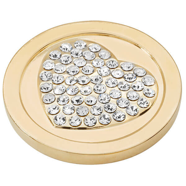 Heart of diamonds coin - Yellow Gold plated