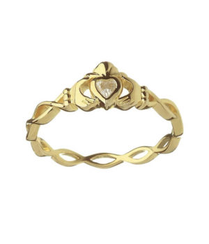 CZ Claddagh Ring with Twisted Band - Yellow Gold