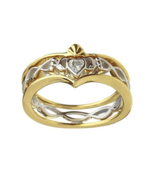Silver & Gold Twisted CZ Celtic Ring