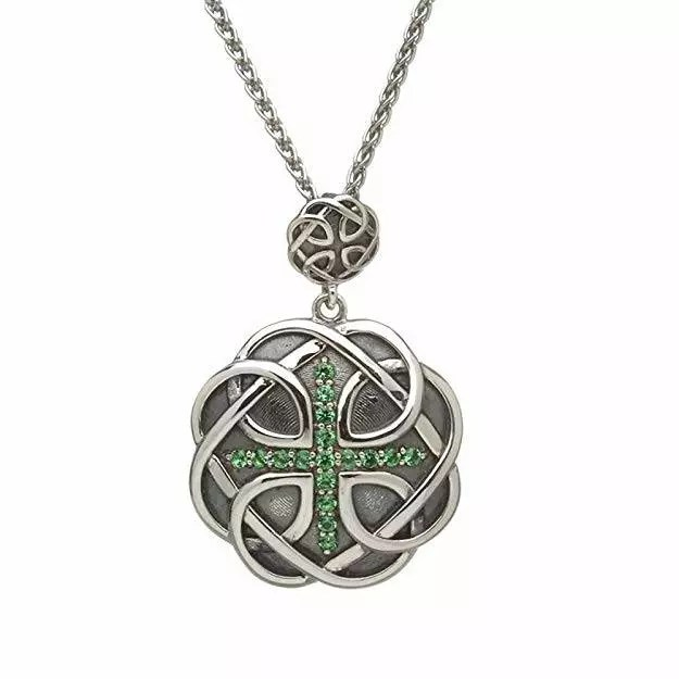 Celtic Knot Triquetra with Emeralds Necklace
