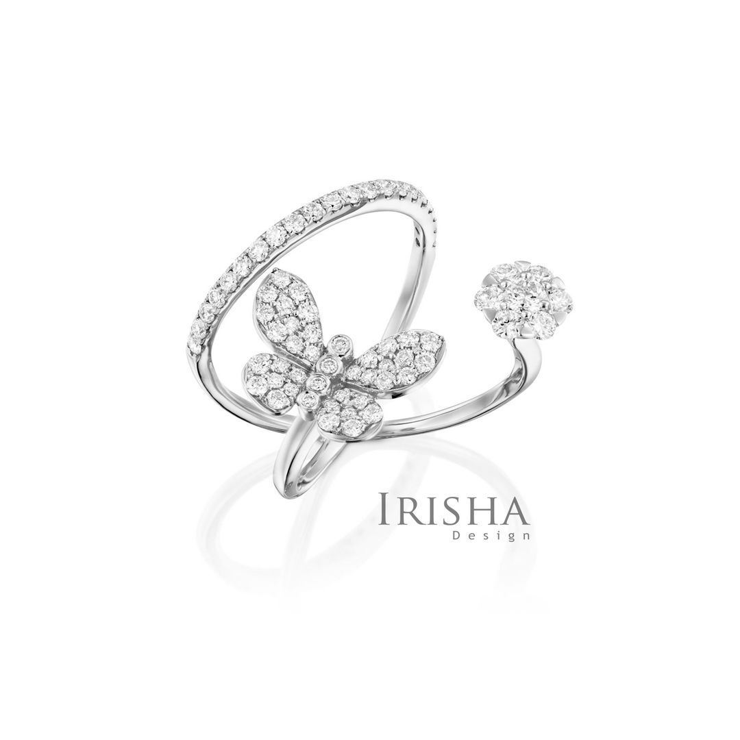 Genuine Diamonds Butterfly And Flower Open Ring 14K Gold