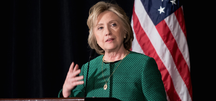 Hillary Rodham Clinton speaking at the Irish America Hall of Fame Awards Luncheon at the Essex House in New York, March 16, 2015. (Photo: Ben Asen / Irish America)