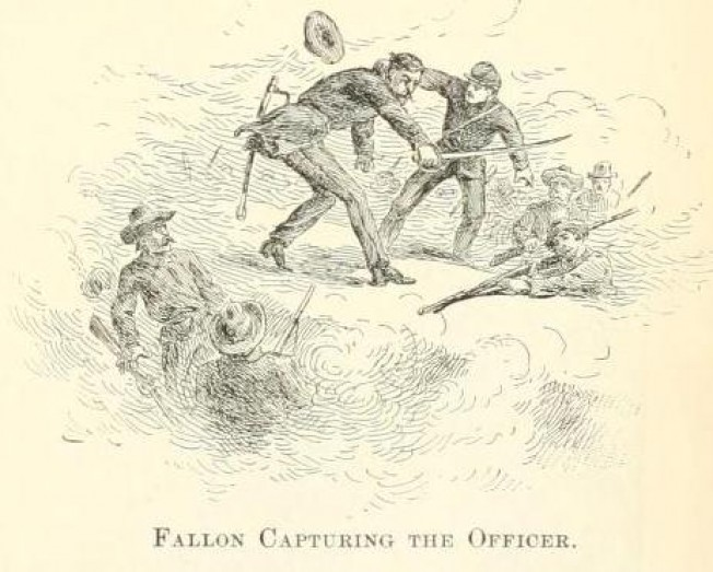 Sgt. Thomas Fallon captures a Confederate Officer at Big Shanty, Georgia in 1864