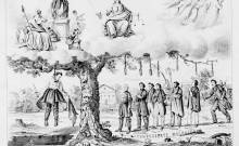 Jefferson Davis shown hanging from a 'Sour Apple Tree' in Harper's Weekly (Library of Congress)
